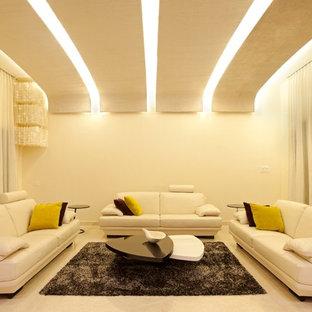Ispirazione per un soggiorno moderno chiuso con sala formale, pareti bianche e pavimento in marmo