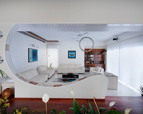 Example Of A Mid Sized Trendy Open Concept Marble Floor Living Room Design  In Indianapolis Part 53
