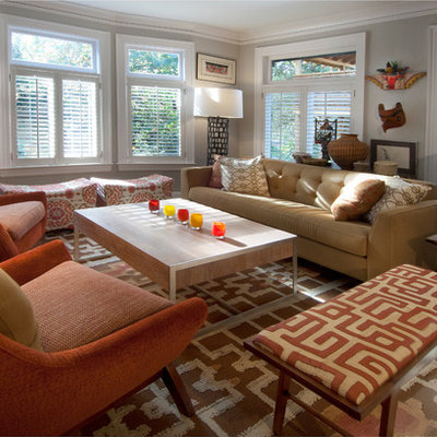 Example of an eclectic living room design in Seattle with gray walls