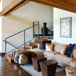 Living room - huge transitional open concept dark wood floor and brown floor living room idea in Other with white walls, a standard fireplace, a plaster fireplace and no tv