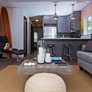 サンディエゴの中サイズのビーチスタイルのおしゃれなLDK (フォーマル、マルチカラーの壁、濃色無垢フローリング、標準型暖炉、石材の暖炉まわり、壁掛け型テレビ、茶色い床) の写真