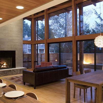 Living room - modern open concept living room idea in Portland