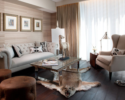 Inspiration For A Mid Sized Transitional Dark Wood Floor Living Room Remodel In Miami