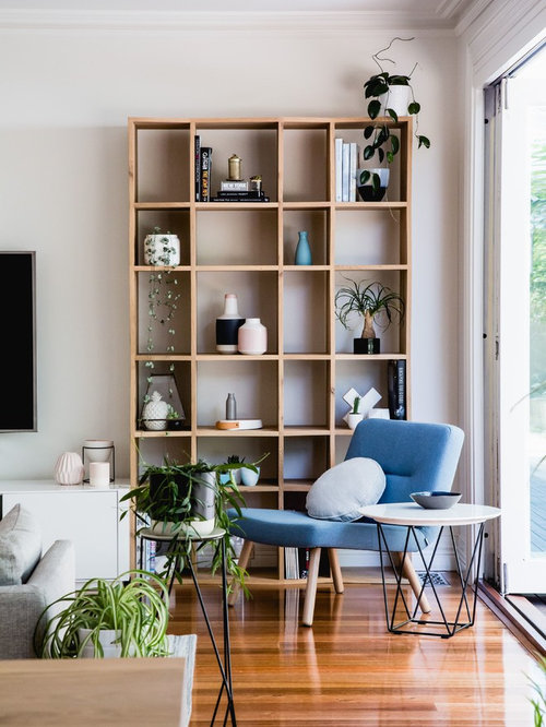 Inspiration For A Scandinavian Living Room In Melbourne With White Walls Light Hardwood Floors And