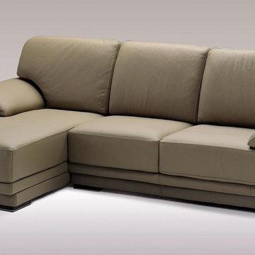 Mushroom Color Sectional Sofa in Top Grain Italian Leather