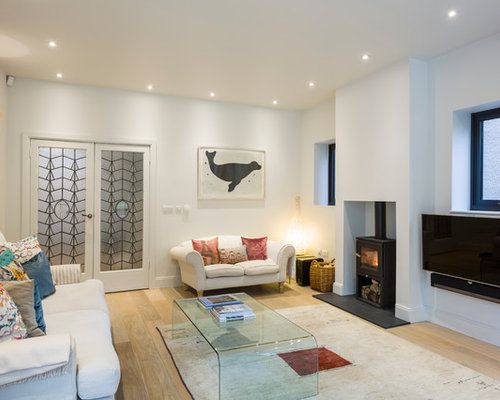 Inspiration For A Scandinavian Light Wood Floor Living Room Remodel In  London With A Wall  Part 87