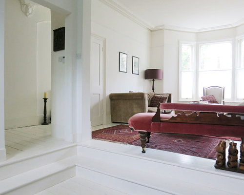 Victorian White Floor Living Room Idea In London With Walls