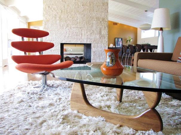Midcentury Living Room by Tara Bussema - Neat Organization and Design