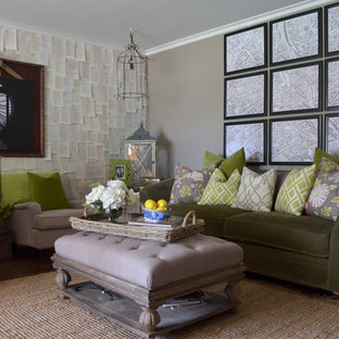 Design ideas for an eclectic living room in Austin with grey walls.