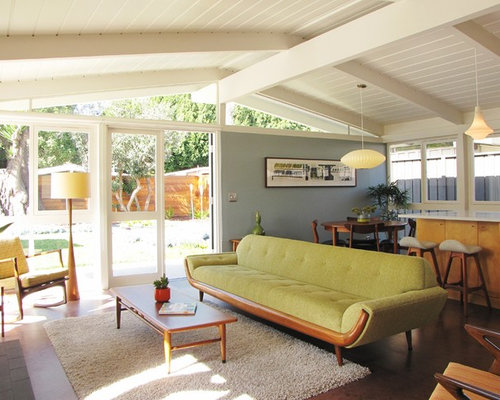 Midcentury modern cork floor living room photo in Orange County