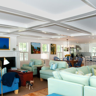 Coastal open concept living room photo in Boston with a standard fireplace