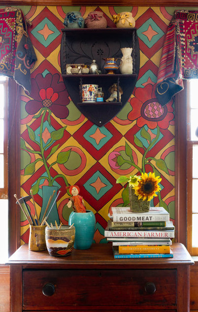 My houzz an antique cape cod house explodes with color for Cape cinema mural