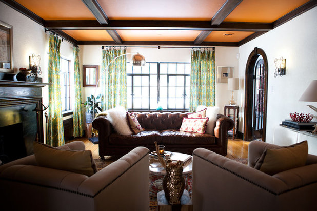 My houzz antiques mingle with modern style in a 1920s tudor for 1920s living room ideas
