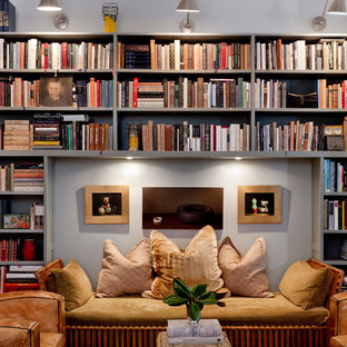 Inspiration for a small transitional living room library remodel in New York with gray walls