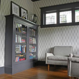 Idées déco pour un salon avec une bibliothèque ou un coin lecture craftsman.
