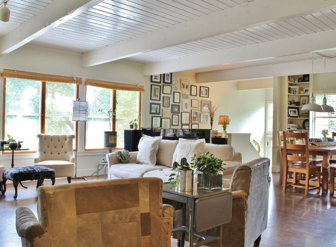 My houzz highlighting farmhouse roots in a seattle suburb for Industrial farmhouse family room