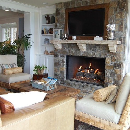 Example Of A Coastal Living Room Design In Orange County With A Stone  Fireplace And A Part 9