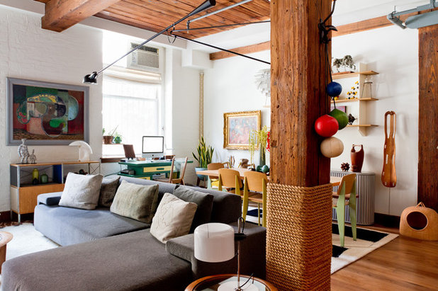 Eclectic Living Room by Rikki Snyder & 21 Creative Ways With Load-Bearing Columns