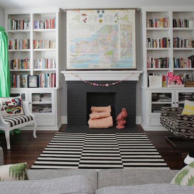 Large eclectic living room library photo in Dallas with no tv