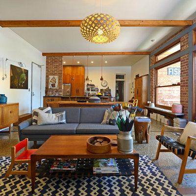 Inspiration for a 1950s open concept living room remodel in Adelaide