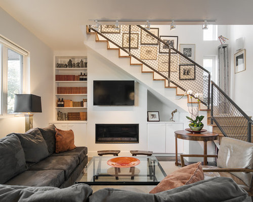 Staircase tv houzz for Living room designs with stairs