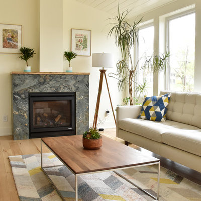Example of a transitional living room design in Boston