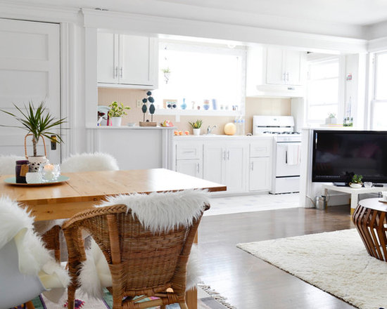 White Kitchen Open Living Room small open kitchen and living room | houzz