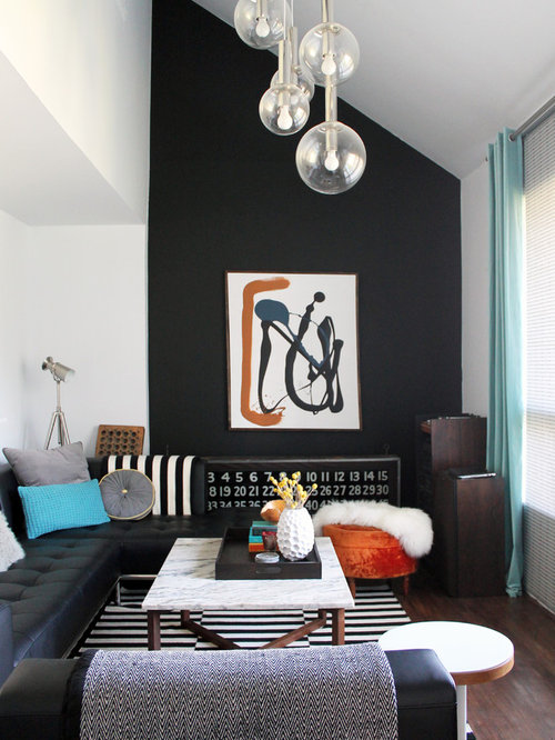 Wonderful 1960s Formal Dark Wood Floor Living Room Idea In Montreal With Black Walls  And No Tv Part 14