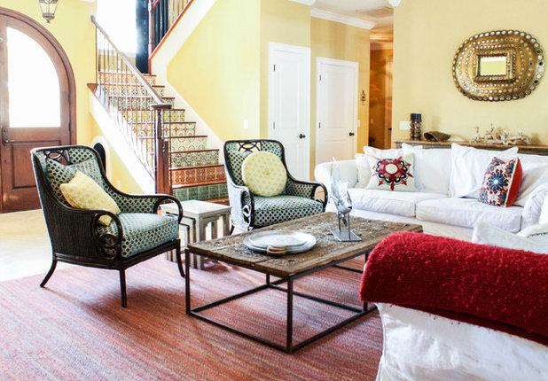 Fancy Mediterranean Living Room by Mina Brinkey