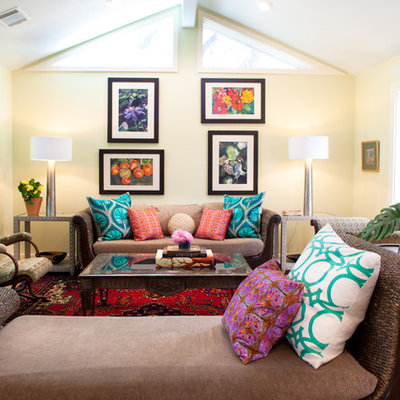 Living room - eclectic living room idea in Austin with beige walls