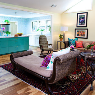 Eclectic living room photo in Austin with beige walls