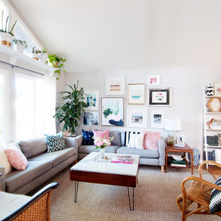 Example Of An Eclectic Open Concept Medium Tone Wood Floor Living Room Library Design In Los