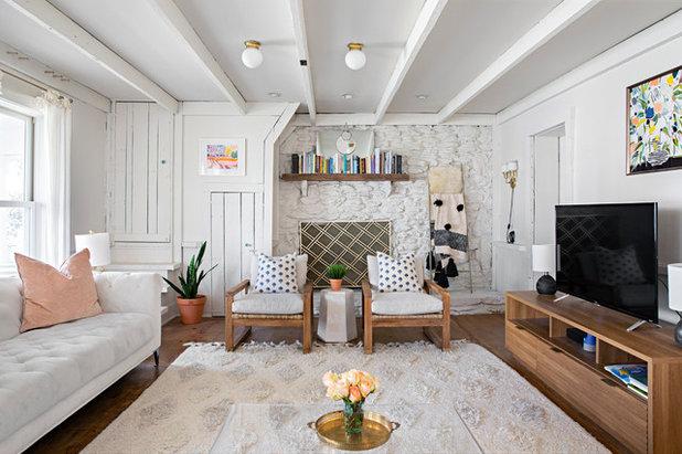 Shabby-chic Style Living Room by Caroline Sharpnack
