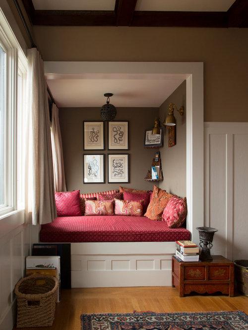 Eclectic Medium Tone Wood Floor Living Room Photo In San Francisco With Brown Walls