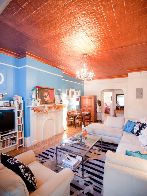 Eclectic Orange Living Room Design Ideas Renovations amp Photos