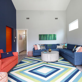 Inspiration For A Contemporary Enclosed Living Room Remodel In Austin With  Multicolored Walls And No Tv