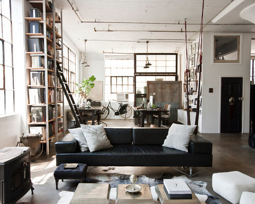 industrial wohnzimmer mit kaminofen ideen design bilder. Black Bedroom Furniture Sets. Home Design Ideas