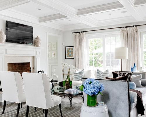 White Modern Living Room Houzz