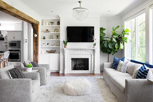 Farmhouse Living Room by Caroline Sharpnack