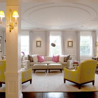 Ispirazione per un grande soggiorno classico con sala formale, pareti bianche, parquet scuro, camino classico e nessuna TV