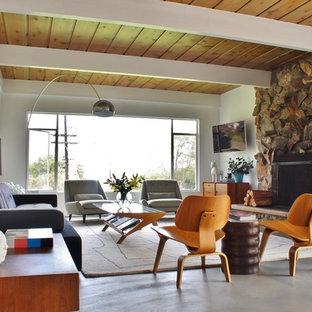 ロサンゼルスのミッドセンチュリースタイルのおしゃれなLDK (フォーマル、白い壁、コンクリートの床、標準型暖炉、石材の暖炉まわり、壁掛け型テレビ) の写真