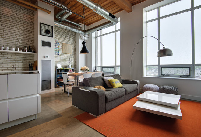 Industrial Living Room by Andrew Snow Photography