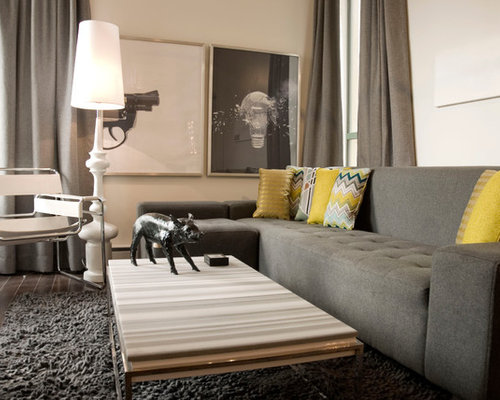 grey couch yellow walls design ideas & remodel pictures | houzz