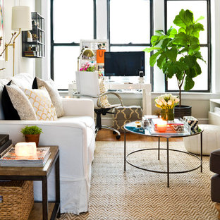Inspiration for a medium sized bohemian enclosed living room in Chicago with a freestanding tv.