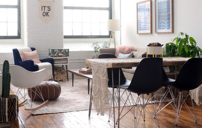 My Houzz: Pretty Pinks and Neutrals in a Boho-Chic Loft