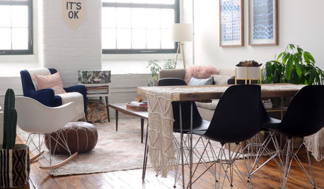 My Houzz: Pretty Pinks and Neutrals in a Boho-chic Loft Apartment