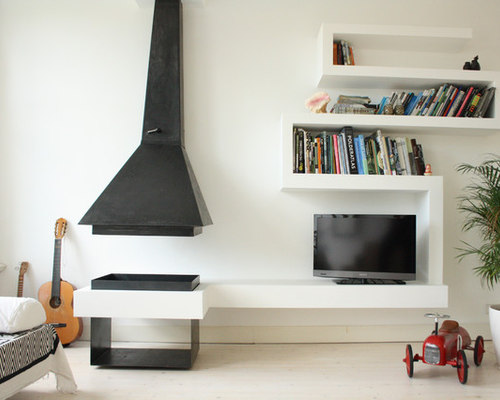 Shelving unit beside fireplace houzz for B q living room units