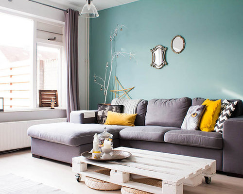 Mustard yellow and gray houzz for Mustard living room ideas