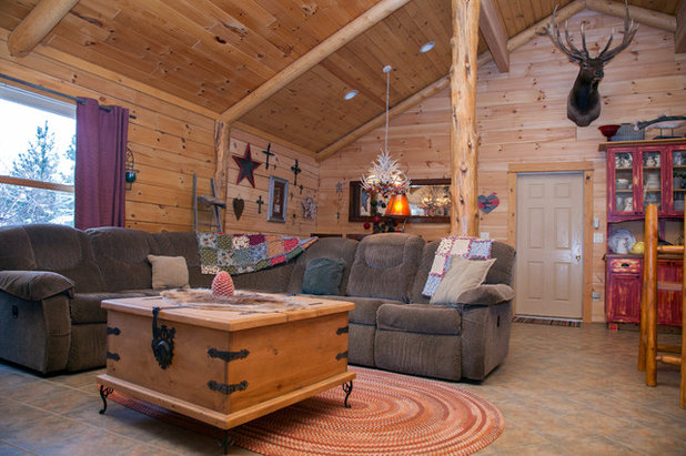 Vintage Rustic Living Room My Houzz Rustic Charm in a Handsome Log Cabin