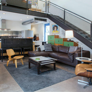 Inspiration for an industrial loft-style concrete floor and gray floor living room remodel in Other with white walls